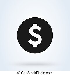 Coin dollar. Flat style. Vector illustration icon isolated on white background.