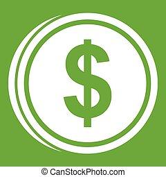 Coin dollar icon green