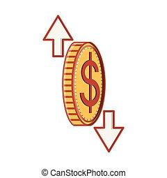 coin dollar with arrows icon