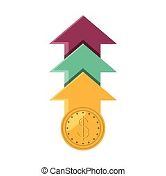 coin dollar with arrows up isolated icon