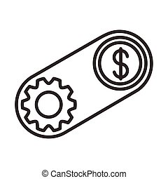 coin dollar with gear line style icon
