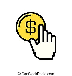 coin dollar with hand touching