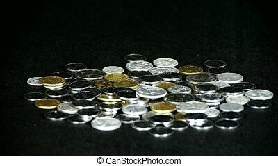 Coin Fall, group of RMB coins.