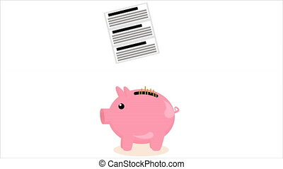 coin falls into pig piggy bank - Coin falls into pig piggy...