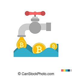 Coin Faucet Flat Icon