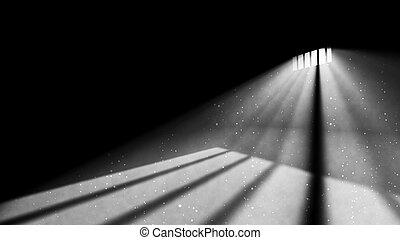 coin, fenêtre, prison, lumière