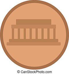 Coin flat illustration on white