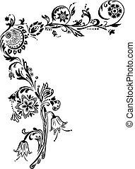 coin, fleurs, orné