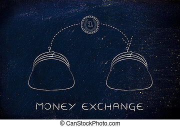coin flying from one purse to another, money exchange
