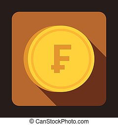 Coin franc icon, flat style