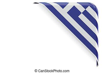 coin, grec, bouton, rendre, drapeau, label., 3d
