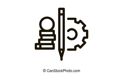 coin heap pen and mechanical gear Icon Animation. black coin heap pen and mechanical gear animated icon on white background