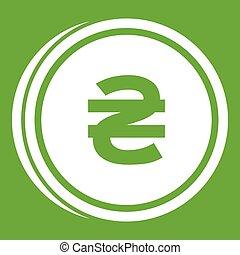 Coin hryvnia icon green