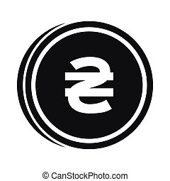 Coin hryvnia icon, simple style