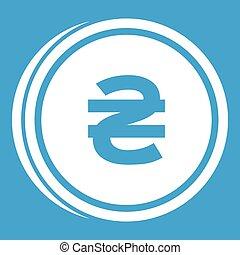 Coin hryvnia icon white