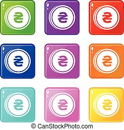 Coin hryvnia icons 9 set