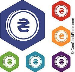 Coin hryvnia icons set
