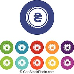 Coin hryvnia set icons