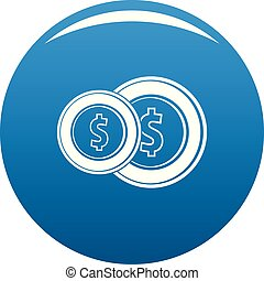Coin icon blue vector