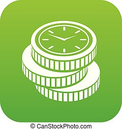 Coin icon green vector