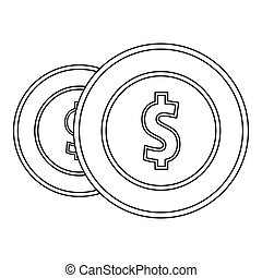 Coin icon, outline style.