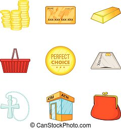 Coin icons set, cartoon style