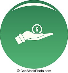 Coin in hand icon vector green