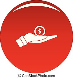 Coin in hand icon vector red