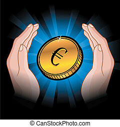 coin in hands
