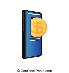 coin inside smartphone, pay online