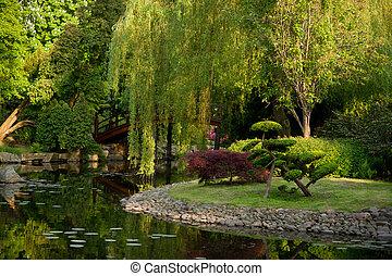 coin, japonaise, étang, jardin