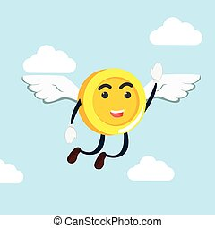 coin man flying illustration design