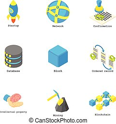 Coin mining icons set, isometric style