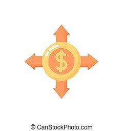 coin money dollar with arrows