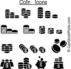 Coin & Money icon set vector illustration
