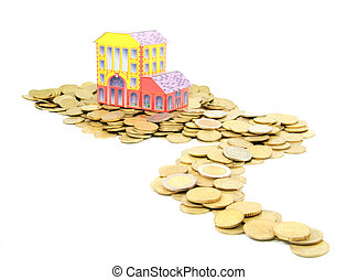 coin money road to house isolated on white background - bank or estate concept, buying property idea, savings or credit for real estate concept