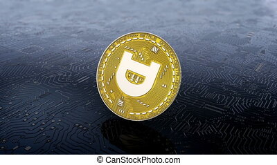 Coin of gogecoin cryptocurrency - Falling rotation and...