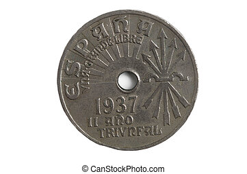 Coin of Spain , 25 cents, 1937, Francisco Franco