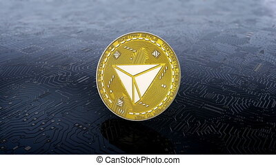 Coin of tron cryptocurrency - Falling rotation and stopping...