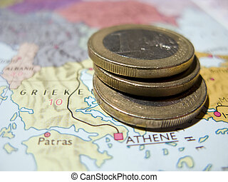 Coin on map Greece