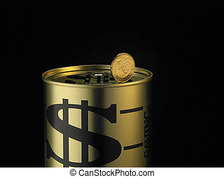 coin on the moneybox