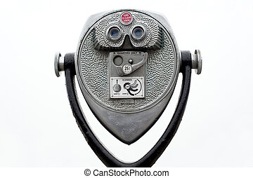 Coin operated binoculars on white