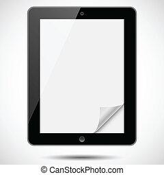 coin, papier, tablette