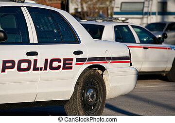 coin, police, dos, voiture