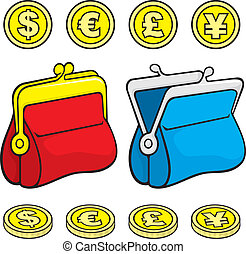 Coin purse wallet - Red and blue coin purse wallet icons...