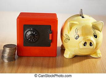 coin , safe and piggy bank