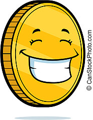 A cartoon gold coin happy and smiling.
