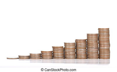 Coin stack deposit money on the white table