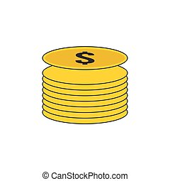 Coin Stack Vector Outline Icon Illustration
