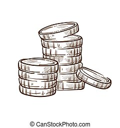 Coin stacks isolated sketch money and finance banking...